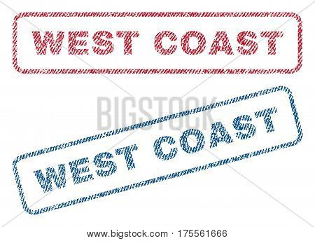 West Coast text textile seal stamp watermarks. Blue, red fabric vectorized texture. Vector caption inside rounded rectangular banner. Rubber emblem with fiber textile structure.