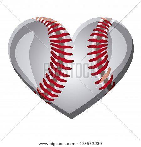 white background of heart with texture of baseball ball vector illustration
