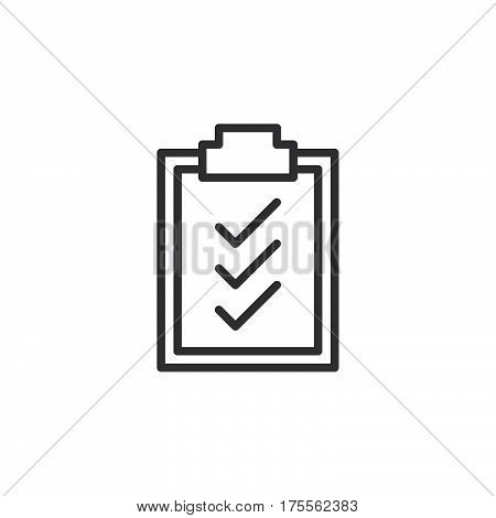 Clipboard check marks line icon outline vector sign linear style pictogram isolated on white. Symbol logo illustration. Editable stroke. Pixel perfect