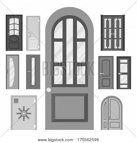 Set of doors. Front doors in houses and buildings set flat design style isolated. Vector illustration doors isolated modern new decoration open elegant room lock.