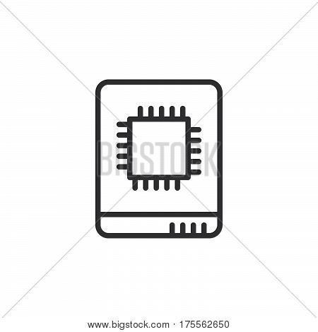 Solid state drive line icon outline vector sign linear style pictogram isolated on white. SSD symbol logo illustration. Editable stroke. Pixel perfect
