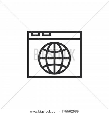 Browser and globe line icon outline vector sign linear style pictogram isolated on white. Internet symbol logo illustration. Editable stroke. Pixel perfect