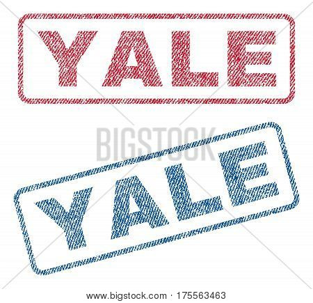 Yale text textile seal stamp watermarks. Blue, red fabric vectorized texture. Vector caption inside rounded rectangular shape. Rubber sticker with fiber textile structure.