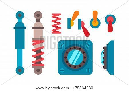 Machine parts different mechanism vector manufacturing work detail design. Gear equipment industry technical engine. Technology icons factory tool.
