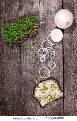 concept healthy sandwich or lunch on a wooden background