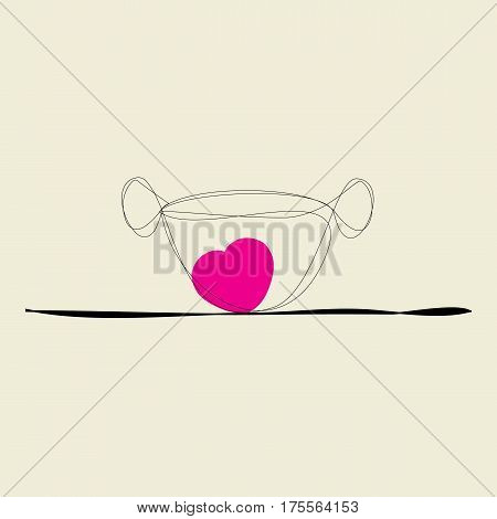 cup of coffee for lovers on beige background