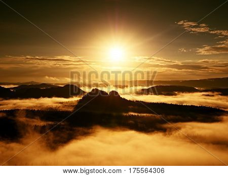 Autumn Sunrise Forest In Beautiful Mountain Within Inversion
