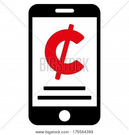 Cent Mobile Payment vector pictograph. Illustration style is a flat iconic bicolor intensive red and black symbol on white background.