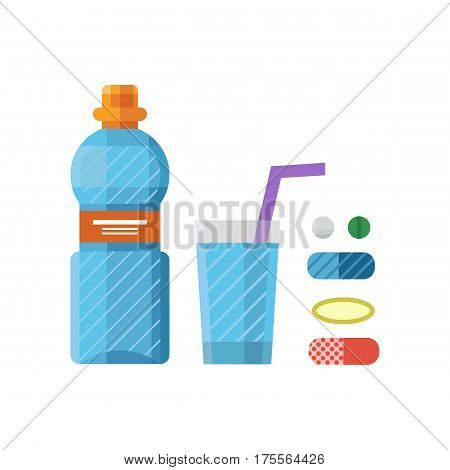 Water plastic sport bottle transparent mineral beverage blank refreshment nature clean liquid and element aqua fluid template vector illustration. Empty healthy fresh silhouette icon.