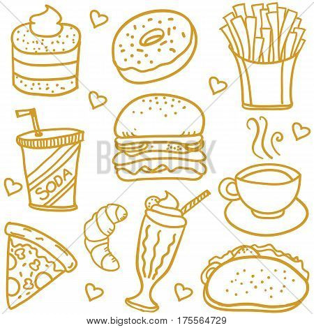 Illustration vectorof fast food doodles collection stock