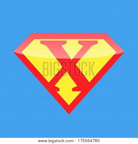 Superhero logo with the letter X. Vector illustration