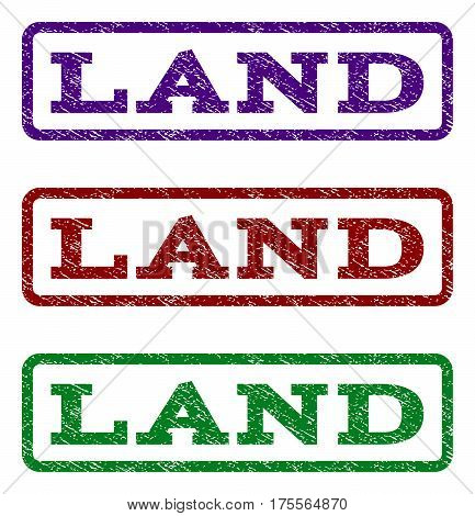 Land watermark stamp. Text caption inside rounded rectangle frame with grunge design style. Vector variants are indigo blue, red, green ink colors. Rubber seal stamp with unclean texture.