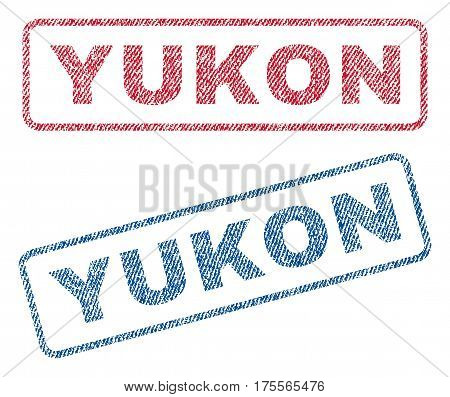 Yukon text textile seal stamp watermarks. Blue, red fabric vectorized texture. Vector tag inside rounded rectangular shape. Rubber emblem with fiber textile structure.