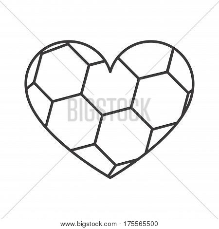 grayscale background of heart with texture of soccer ball vector illustration