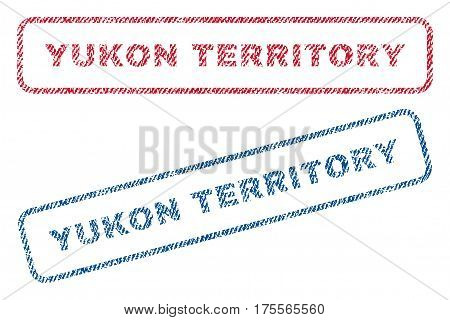 Yukon Territory text textile seal stamp watermarks. Blue, red fabric vectorized texture. Vector caption inside rounded rectangular shape. Rubber emblem with fiber textile structure.
