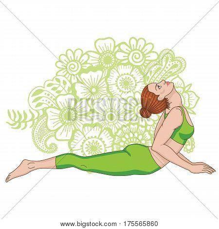 Women silhouette on paisley mehndi ormanent background. Cobra yoga pose. Bhujangasana. Vector illustration
