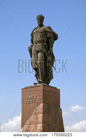 Statue of Timur against blue sky, Shahrisabz, Uzbekistan