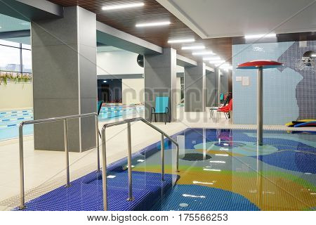 Interior of a public swimming pool