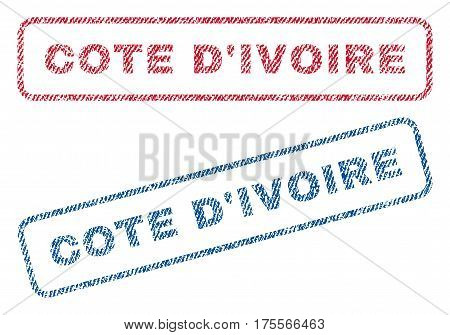Cote D'Ivoire text textile seal stamp watermarks. Blue, red fabric vectorized texture. Vector caption inside rounded rectangular banner. Rubber emblem with fiber textile structure.