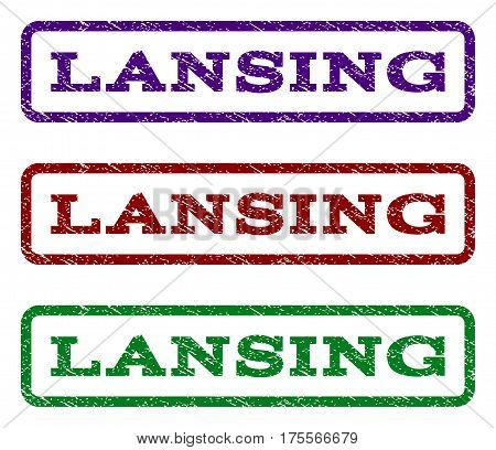 Lansing watermark stamp. Text tag inside rounded rectangle with grunge design style. Vector variants are indigo blue, red, green ink colors. Rubber seal stamp with scratched texture.