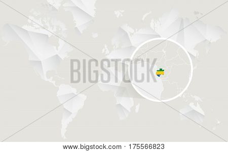 Gabon Map With Flag In Contour On White Polygonal World Map.