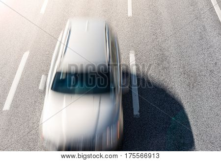 Top view in fast moving car on highway