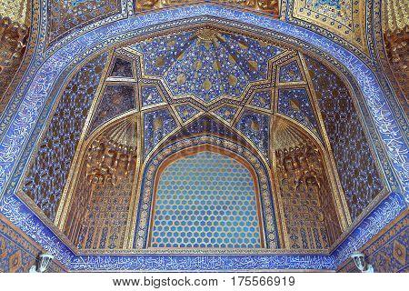 Golden interior of Aksaray mausoleum, Samarkand, Uzbekistan
