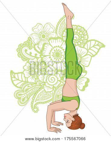 Women silhouette on paisley mehndi ormanent background. Tripod Headstand yoga pose. Sirsasana 2. Vector illustration
