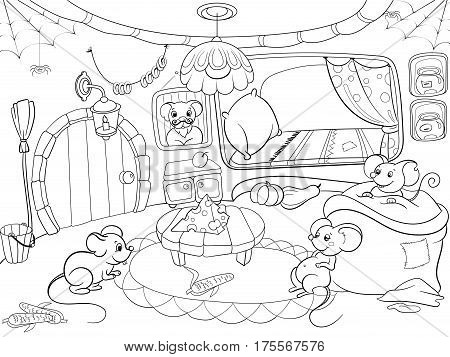 Children coloring cartoon house family mouse vector Zentangle style. Black and white