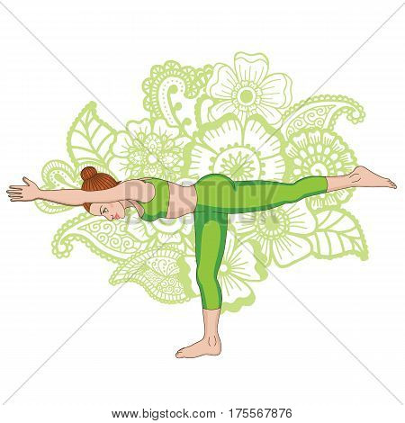 Women silhouette on paisley mehndi ormanent background. Warrior 3 yoga pose. Virabhadrasana 3 Vector illustration