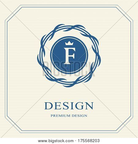 Abstract Monogram round template. Modern elegant luxury logo design. Letter emblem F crown. Mark of distinction. Fashion universal label for Royalty company business card badge. Vector illustration