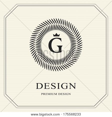 Abstract Monogram round template. Modern elegant luxury logo design. Letter emblem G crown. Mark of distinction. Fashion universal label for Royalty company business card badge. Vector illustration
