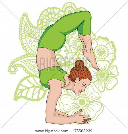 Women silhouette on paisley mehndi ormanent background. Scorpion yoga pose. Vrischikasana. Vector illustration
