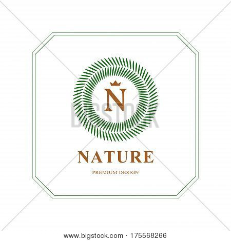 Abstract Monogram round template. Modern elegant luxury logo design. Letter emblem N crown. Mark of distinction. Green labels and organic emblems for products shops websites.. Vector illustration