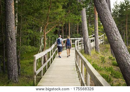 Couple walk on wooden deck in the wood with observation decks.