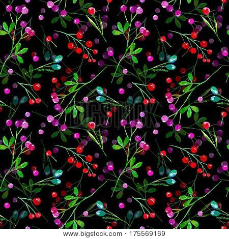 Floral seamless pattern of a berry. Cranberry, bilberry, cowberry. Watercolor hand drawn illustration.Dark background.
