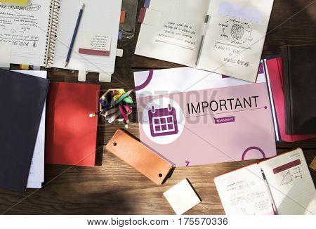 Workspace with illustration of personal organizer reminder calendar