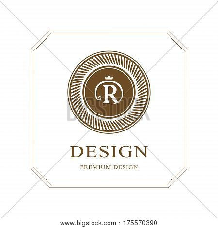 Abstract Monogram round template. Modern elegant luxury logo design. Letter emblem R crown. Mark of distinction. Fashion universal label for Royalty company business card badge. Vector illustration