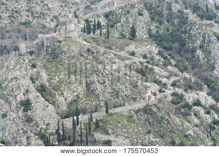 Walls On The Kotor Mountains Bay