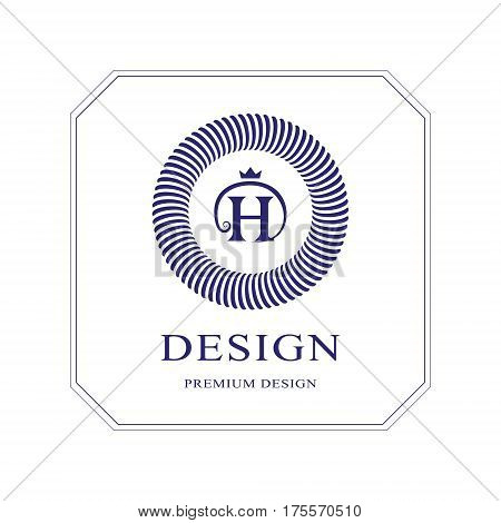 Abstract Monogram round template. Modern elegant luxury logo design. Letter emblem H crown. Mark of distinction. Fashion universal label for Royalty company business card badge. Vector illustration
