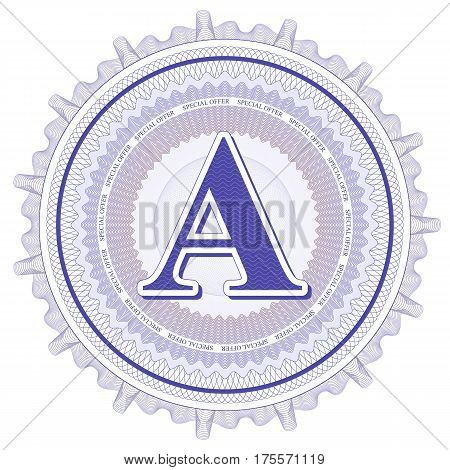 Vector Guilloche Pattern Rosette and border with letter A. Monetary banknote background print. Abstract guilloche letter design.