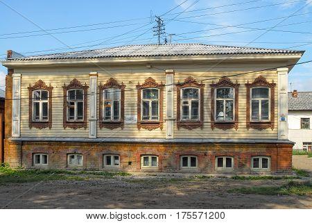 Tyumen Russia - August 18 2007: Old wooden residential house on Dzerzhinskogo street 36
