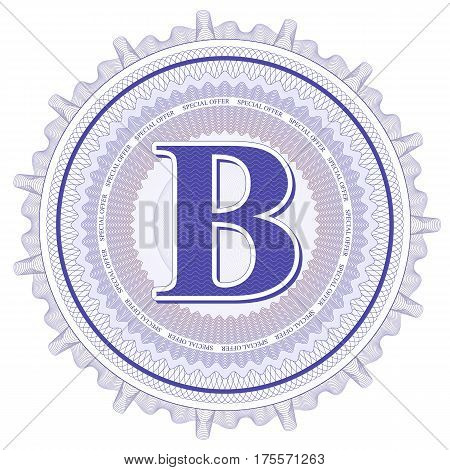 Vector Guilloche Pattern Rosette and border with letter B. Monetary banknote background print. Abstract guilloche letter design.