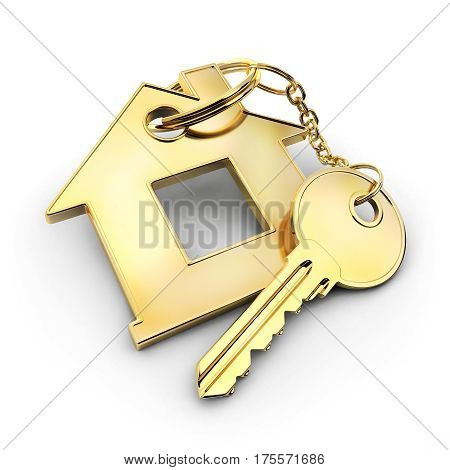 Gold key and abstract home. 3d illustration