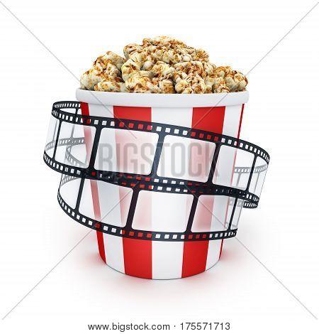 Film and popcorn box on white background. 3d illustration