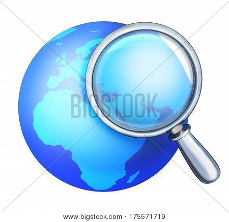 Abstract blue earth and lens. 3d illustration. Isolated