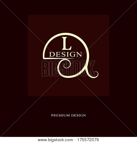 Abstract logo design. Modern luxury monogram. Minimum elements. Letter emblem L. Mark of distinction. Universal round template. Fashion label for Royalty company business card. Vector illustration