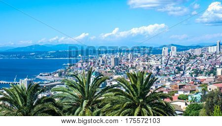 Panormamic view over Valparaiso in Chile, South America.