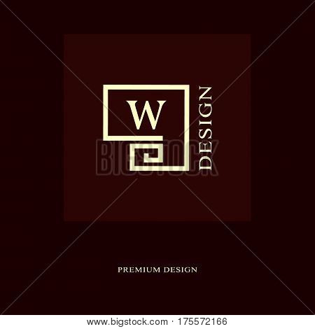 Abstract logo design. Modern luxury monogram. Minimum elements. Letter emblem W. Mark of distinction. Universal round template. Fashion label for Royalty company business card. Vector illustration
