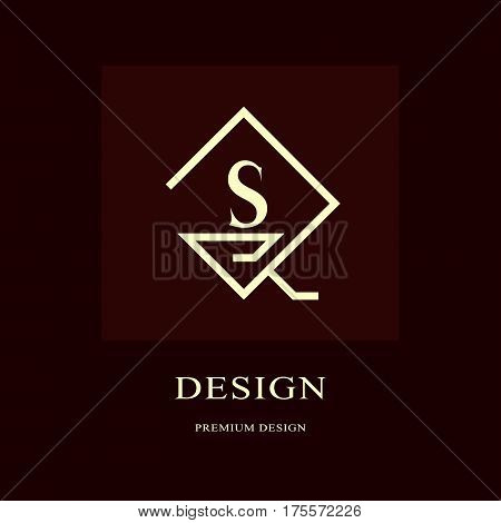 Abstract logo design. Modern luxury monogram. Minimum elements. Letter emblem S. Mark of distinction. Universal rhombus template. Fashion label for Royalty company business card. Vector illustration